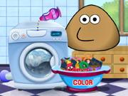 Pou Washing Clothes