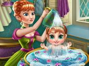 Anna babát fürdet