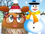 Pou Girl Building A Snowman
