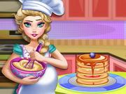 Pregnant Elsa Baking Pancakes