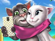 لعبة القط المتكلم توم وانجيلا صورة سيلفي